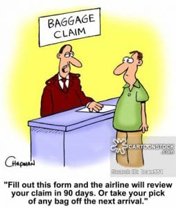 'Fill out this form and the airline will review your claim in 90 days. Or take your pick of any bag off the next arrival.'
